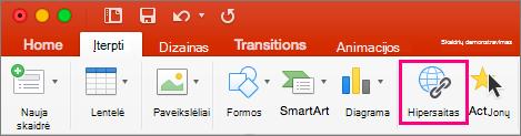 """Rodomas skirtukas įterpimas programoje """"PowerPoint 2016"""", skirta """"Mac"""""""