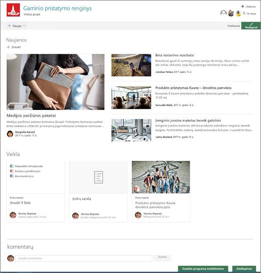 """""""SharePoint teams"""" svetainės pagrindinis puslapis"""