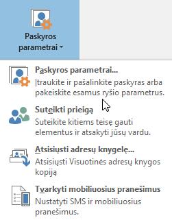 """Parinktys galimos, kai pasirenkate paskyros parametrus programoje """"Outlook"""""""