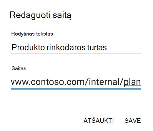 "Outlook""Android"" redagavimo saito dialogo langas."
