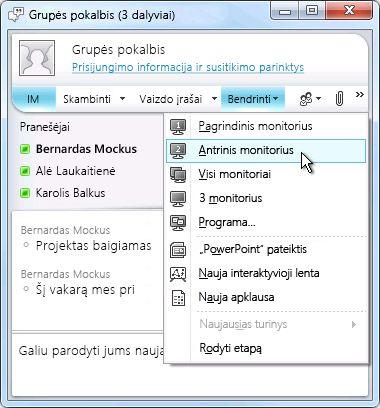 Microsoft Lync langas su ekrano bendrinimo parinktimis