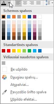 Šrifto spalvų paletė