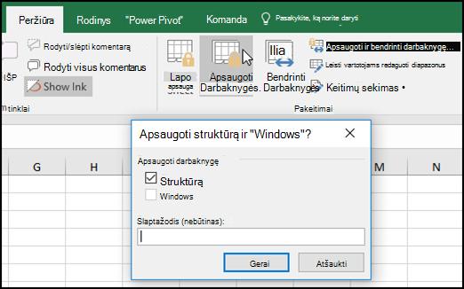 """Struktūros apsaugos ir """"Windows"""" dialogo langas"""