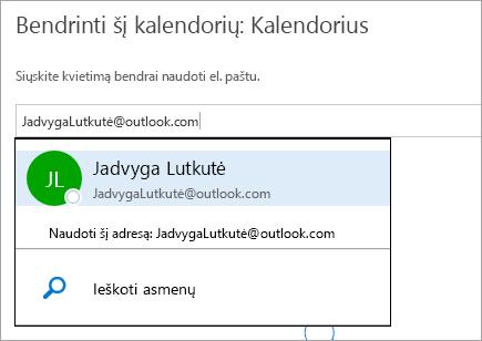 """""""Outlook.com"""" dialogo lango Bendrinti kalendorių ekrano nuotrauka."""