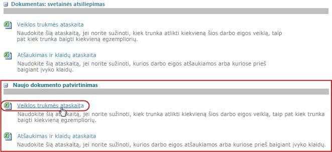 Saito Veiklos trukmės ataskaita spustelėjimas