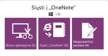 Įrankis Siųsti į OneNote