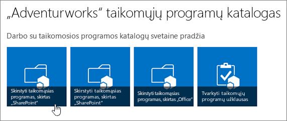 """Pradžia su taikomosios programos katalogo plytelių platinti taikomąsias programas su paryškintu """"SharePoint"""" darbo."""