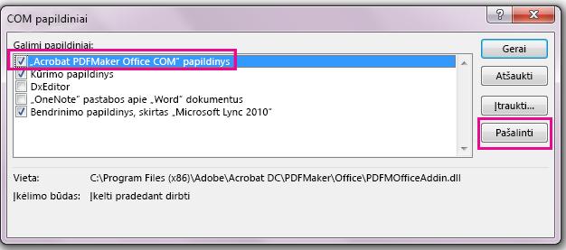 Pažymėkite žymės langelį Acrobat PDFMaker Office COM priedą ir spustelėkite pašalinti.