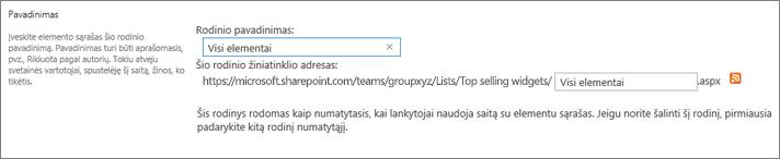Rodinio pavadinimo ir, pasirinktinai, failo pavadinimo nustatymas