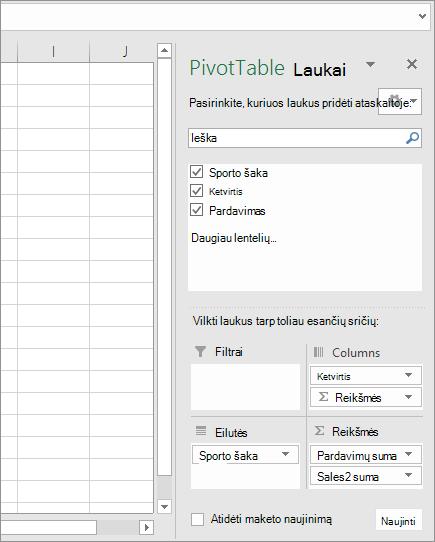 """""""PivotTable"""" laukai"""