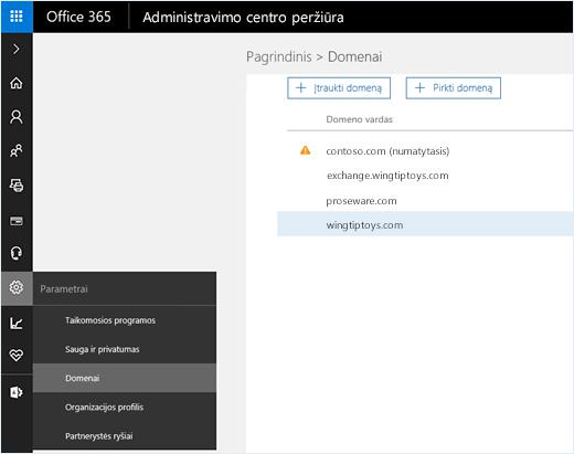 """Ekrano kopijoje pavaizduotas """"Office 365"""" administravimo centras, kuriame pasirinkta Domenų parinktis. Domenų vardai rodomi puslapyje kartu su domeno įtraukimo ar įsigijimo parinktimis."""