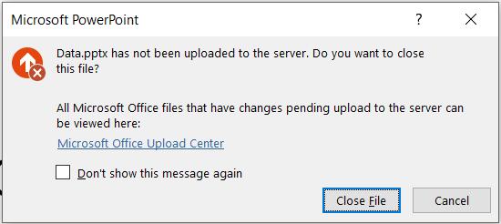 """""""PowerPoint"""" klaida: failas nebus nusiųstas į serverį."""