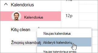 Ekrano nuotrauka parinktį Atidaryti kalendorių