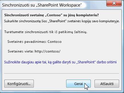Dialogo langas Sinchronizuoti su kompiuteriu