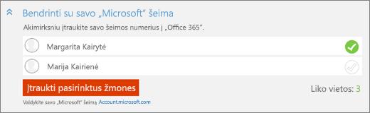 """Ekrano priartinta """"Bendrinti su savo""""Microsoft """"šeima"""" skyriaus """"Įtraukimas"""" dialogo langas su mygtuku """"Pridėti pasirinktą žmonės""""."""