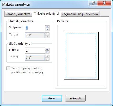 "Tinklelio orientyrus rodantis ""Publisher"" maketo orientyrų dialogo langas"
