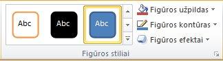 Grupė Figūrų stiliai skirtuke Formatavimas.