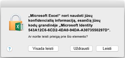 """Kodų grandinės raginimas programoje """"Office 2016 for Mac"""""""