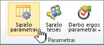 Puslapio juostelės sąrašo parametrų mygtukas