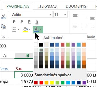Pasirinkti kitą teksto spalvą