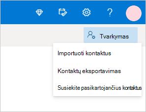 Kontaktų valdymo meniu Outlook.com