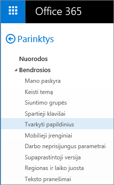 """Programos """"Outlook"""" parinkčių meniu dalies Bendra su pažymėta parinktimi """"Papildinių valdymas"""" ekrano kopija."""