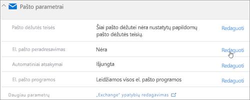 Ekrano: Pasirinkite Redaguoti, jei norite konfigūruoti el. pašto peradresavimas