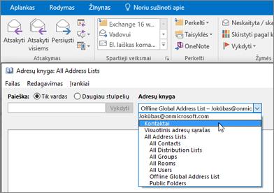 """Baigę importuoti """"Gmail"""" kontaktus, juos galite rasti """"Office 365"""" pasirinkdami adresų knygelę."""