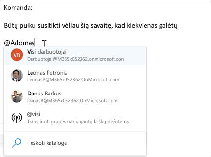 """@paminėjimai internetinėje """"Outlook"""""""