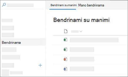 """""""OneDrive"""" verslui žiniatinklyje bendrinto su manimi rodinio ekrano nuotrauka"""