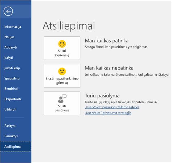 """Spustelėkite Failas > Atsiliepimai, norėdami pateikti komentarų ar atsiliepimų apie """"Microsoft Word"""""""