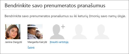 """Bendrinti prenumeratos pranašumų bendrinimas """"Office 365"""" puslapio, kuris rodomas šalinti saitą vartotojo paveikslėlį."""