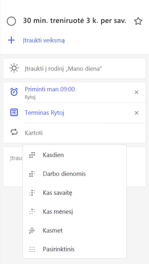 Ekrano kopija, kurioje išsamios informacijos rodinys su pakartoti pasirinktą