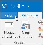 """Programos """"Outlook 2016"""" meniu Failas ekrano nuotrauka"""
