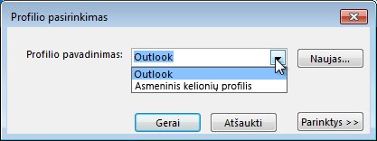 "Programos ""Outlook"" profilio pasirinkimo dialogo langas"
