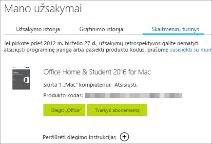 """Rodomas skaitmeninis """"Office"""" užsakymas, produkto kodas ir """"Office"""" diegimo bei """"Microsoft"""" paskyros valdymo mygtukai."""