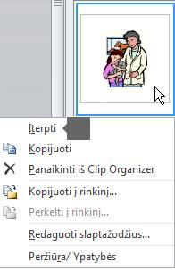 Norėdami įterpti paveikslėlį, dešiniuoju pelės mygtuku spustelėkite miniatiūros vaizdą ir pasirinkite Įterpti.