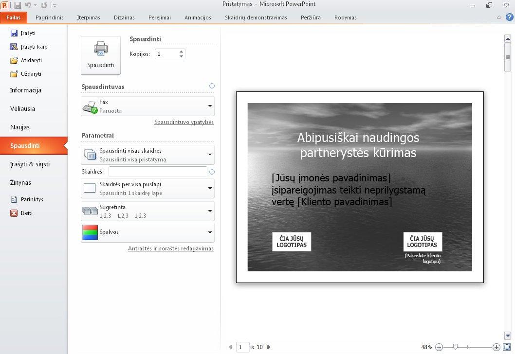 Presentation print preview