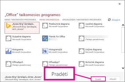 """Dialogo langas """"Office"""" taikomosios programos"""