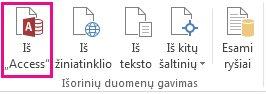 """Mygtukas Iš """"Access"""" skirtuke Duomenys"""