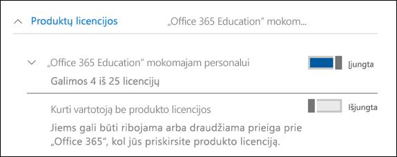 """Ekrano nuotrauka, kaip įtraukti vartotojo """"Office 365"""", rodoma išplėtimo produkto licencijos dalies."""