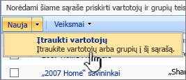 Mygtukas įtraukti vartotoją į išplečiamąjį sąrašą
