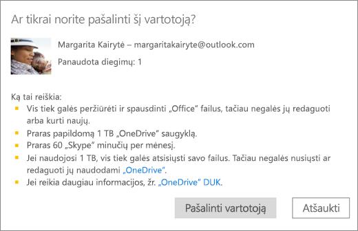 """Kai ekrano kopija patvirtinimo dialogo langą vartotojo šalinimas iš """"Office 365 Home"""" prenumeratos."""