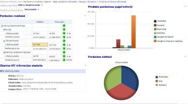 Pardavimo ataskaitų sritis, kuriai pritaikyti finansinių metų ir produktų pardavimo filtrai