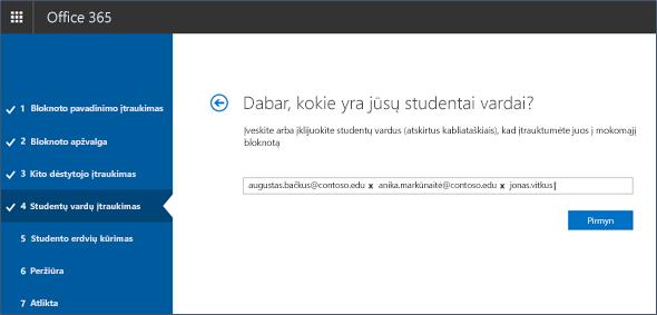 Ekrano nuotrauka, kaip įtraukti mokinių vardus į bloknotų kūrėją.