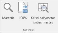 """""""Excel"""" juostelės mastelio keitimo grupė"""