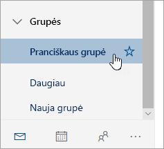 Grupės ekrano kopija naršymo srityje.