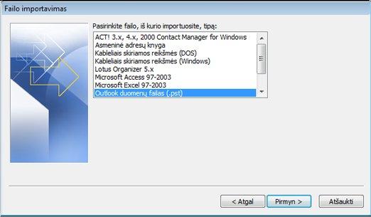 Importavimo ir eksportavimo vedlys su pažymėtu Outlook duomenų failu (.pst)