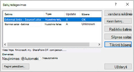 """""""Excel"""" dialogo langas Redaguoti saitus iš duomenų > užklausų & ryšių > redaguoti saitus"""