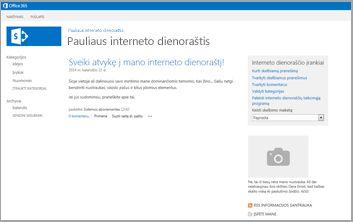 Interneto dienoraščio svetainės šablonas